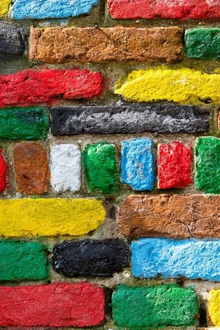 iPhone Wallpaper Colorful bricks texture, wall