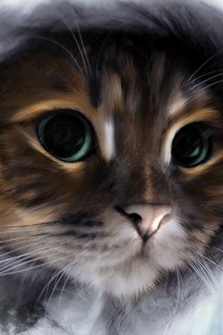 iPhone Wallpaper Cute kitten, front view, watercolors