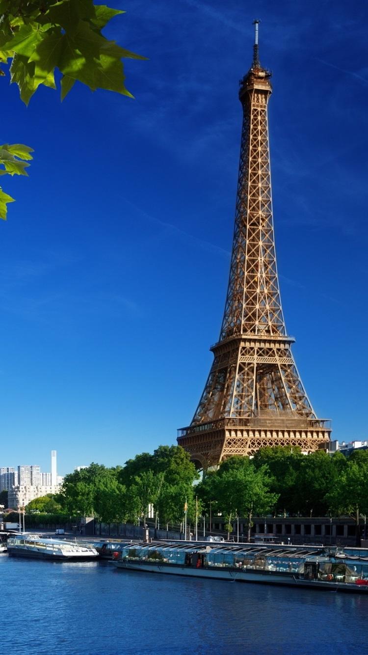 エッフェル塔 セーヌ川 橋 パリ フランス 750x1334 Iphone 8 7 6 6s 壁紙 背景 画像