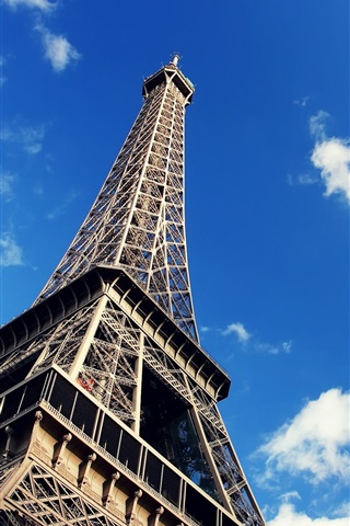 iPhone Wallpaper Eiffel Tower, blue sky, white clouds