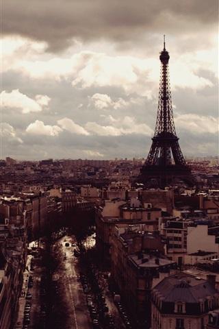 iPhone Wallpaper Eiffel Tower, city, top view, clouds, dusk, Paris, France