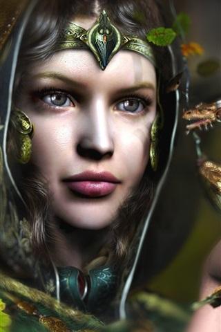 iPhone Wallpaper Fantasy girl, fairy, dragon