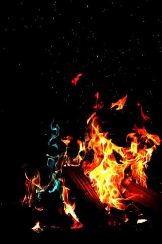 iPhone Wallpaper Fire, flame, firewood, darkness