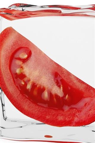 iPhone Wallpaper Frozen tomato, ice cube