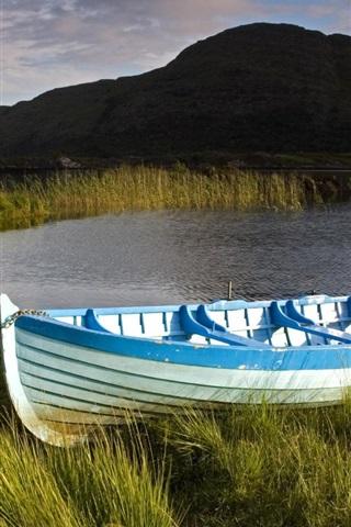 iPhone Wallpaper Grass, boat, lake