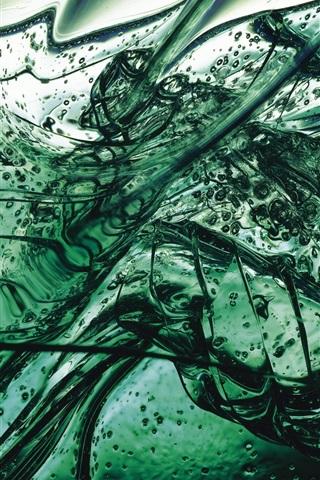iPhone Wallpaper Green liquid, blisters, glass splinters