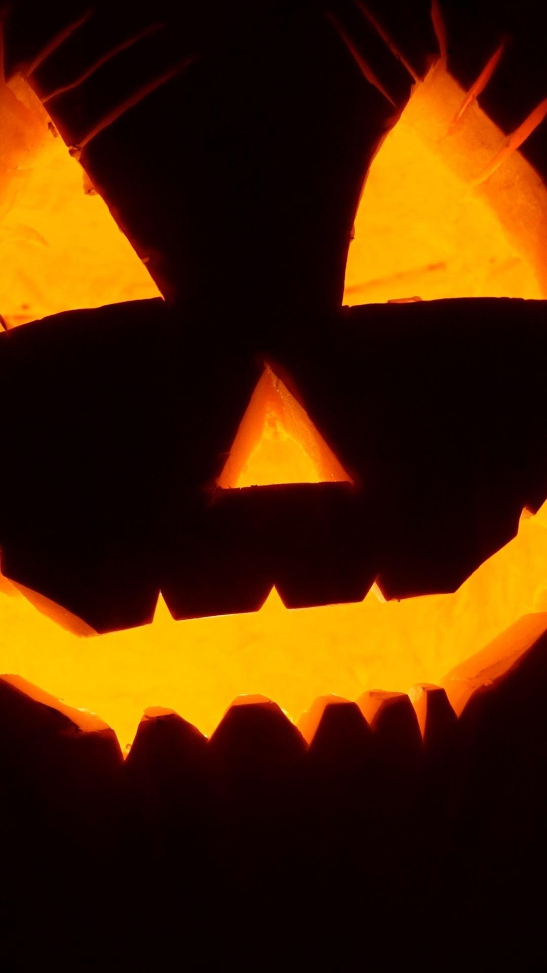 Halloween Pumpkin Light Face Black Background 1080x1920 Iphone