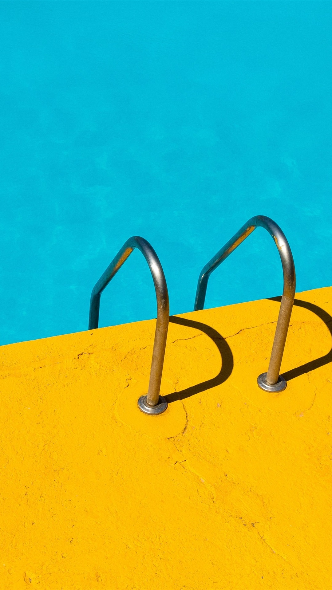 Handrail Swim Pool Blue And Yellow 1080x1920 Iphone 8 7 6 6s Plus Wallpaper Background Picture Image