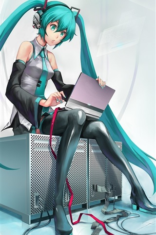 iPhone Wallpaper Hatsune Miku, blue hair anime girl use computer