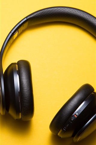 iPhone Wallpaper Headphones, yellow background