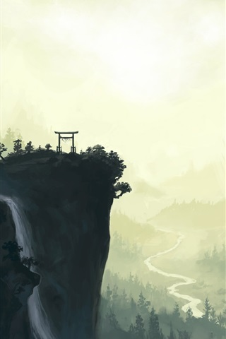 iPhone Wallpaper Landscape watercolor painting, cliff, torii, mountains, waterfall, river, trees