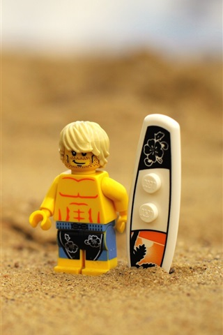 iPhone Wallpaper Lego toy, beach