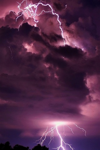Lightning Clouds Night Nature Power 640x960 Iphone 4 4s Wallpaper Background Picture Image