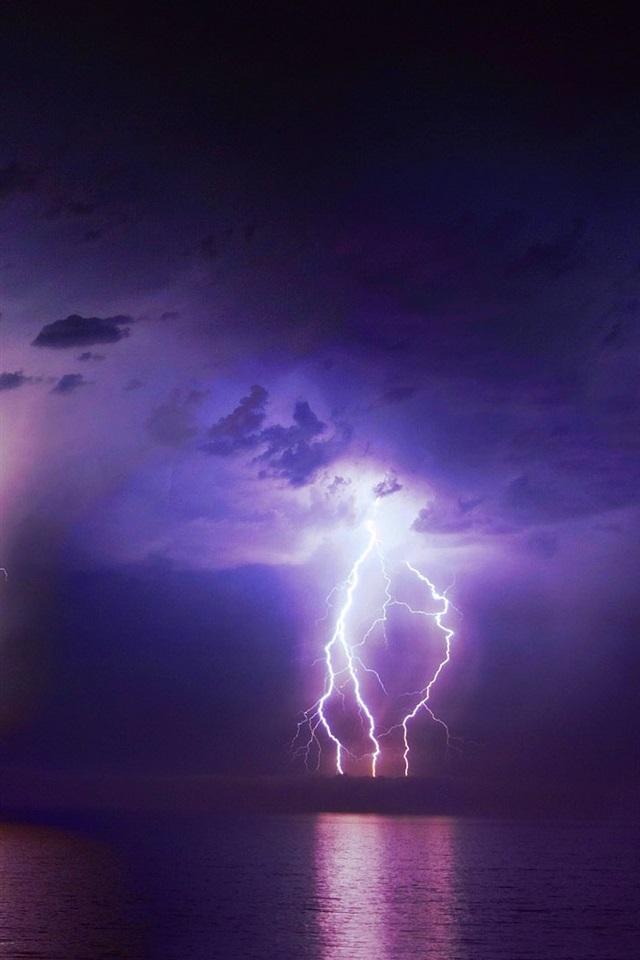壁紙 雷 雲 夜 海 天気 19x10 Hd 無料のデスクトップの背景 画像