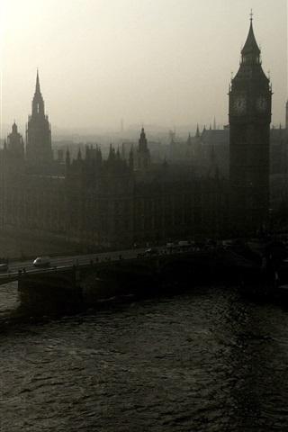 iPhone Wallpaper London, bridge, river, Big Ben, morning, mist, England
