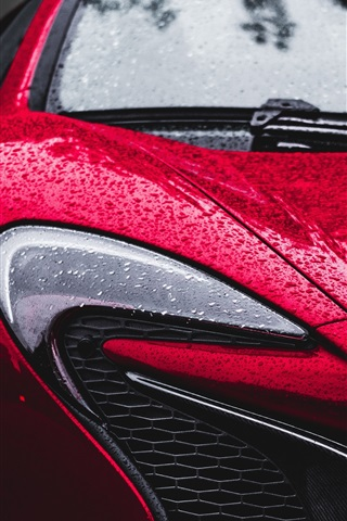 iPhone Wallpaper McLaren red car front view, headlight, after rain, water drops