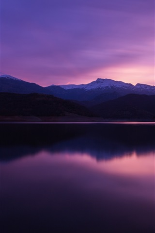 iPhone Wallpaper Mountain, lake, dusk, water reflection
