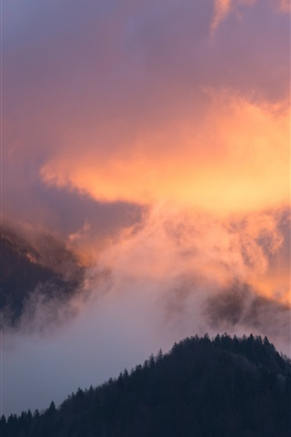 iPhone Wallpaper Mountains, clouds, trees, sky, sunset, nature landscape