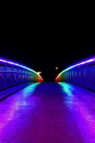 iPhone Wallpaper Night, bridge, lights, illumination