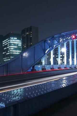 iPhone Wallpaper Night, city, bridge, illumination