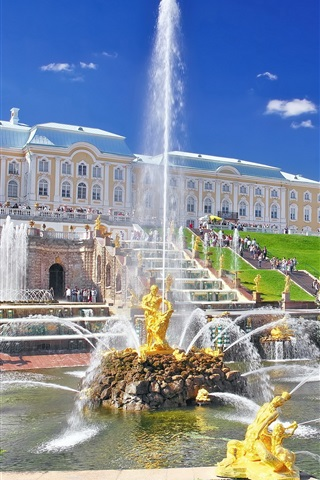 iPhone Wallpaper Peterhof Palace, fountain, people, Russia