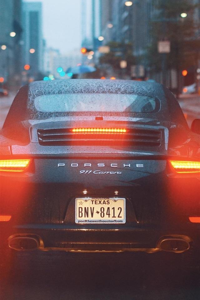 Wallpaper Porsche 911 Carrera Supercar Back View Water Drops City Road 3840x2160 Uhd 4k Picture Image