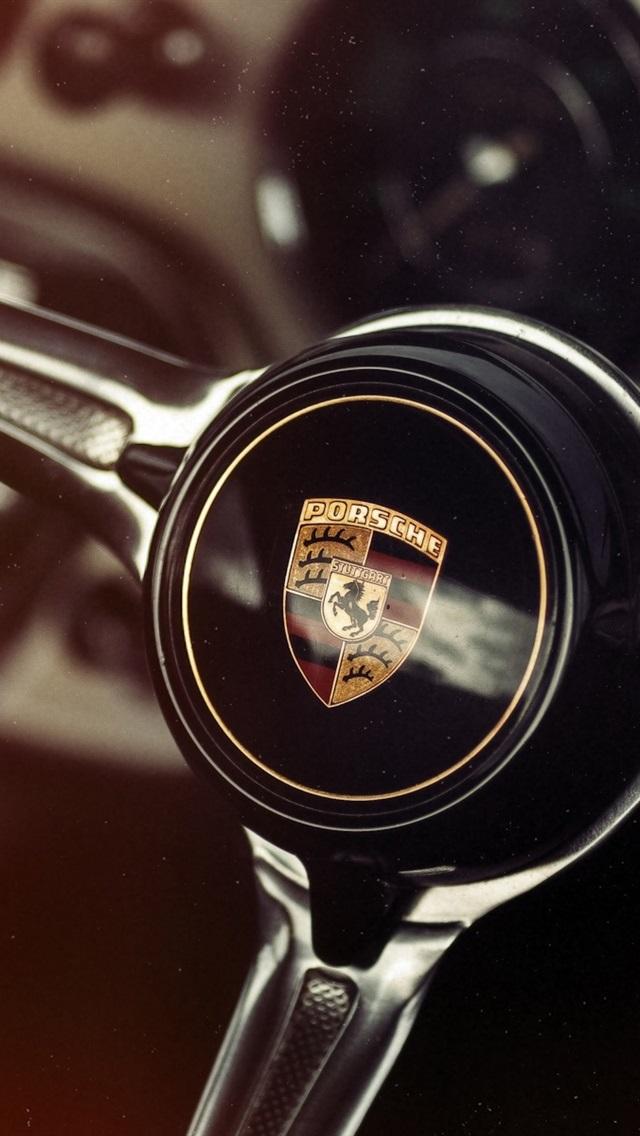 Porsche Steering Wheel 640x1136 Iphone 5 5s 5c Se Wallpaper Background Picture Image