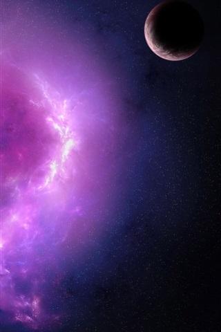 iPhone Papéis de Parede Nebulosa e planetas roxos