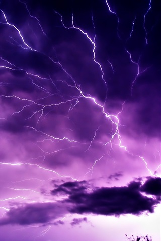 iPhone Wallpaper Purple sky, clouds, lightning, nature power