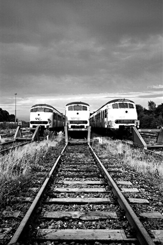 iPhone Wallpaper Railway station, track, train, black and white picture
