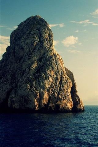iPhone Wallpaper Rocks, small island, sea, clouds
