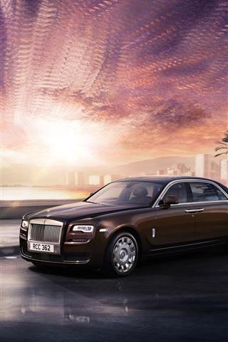 iPhone Wallpaper Rolls Royce Ghost luxury car, brown, city, sunset