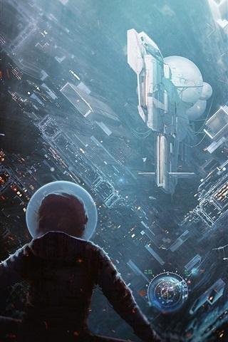iPhone Wallpaper Science fiction, future city, rainy, buildings