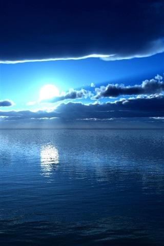iPhone Wallpaper Sea, moon, blue, night, clouds