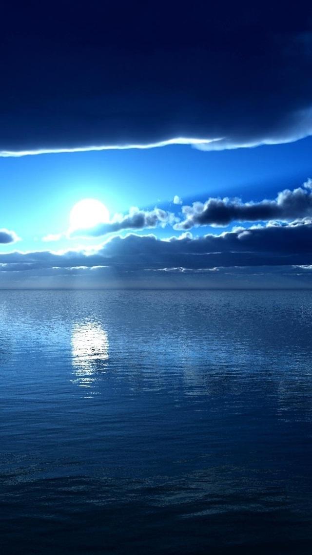 壁紙 海 月 青 夜 雲 19x10 Hd 無料のデスクトップの背景 画像