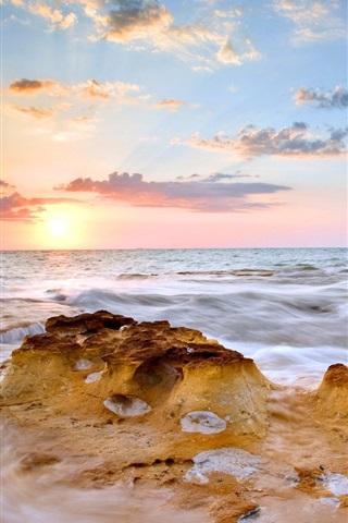 iPhone Wallpaper Sea, sunset, clouds, waves, birds