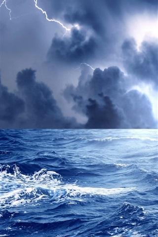 iPhone Обои Море, волны, буря, облака, молния