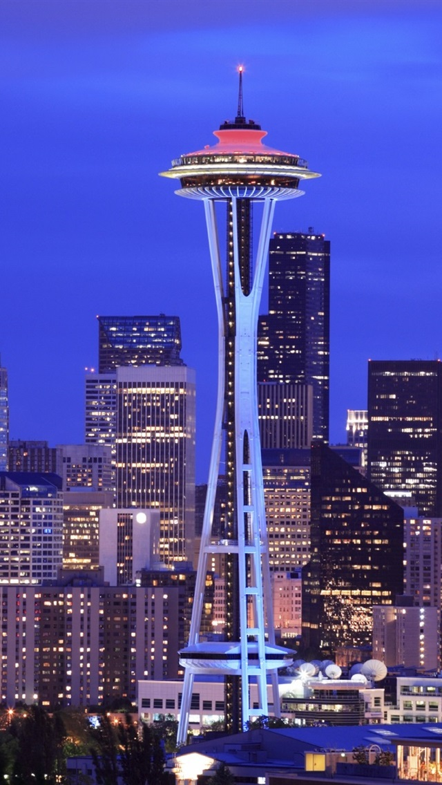 Seattle City Night Tower Skyscrapers Usa 640x1136 Iphone 5 5s 5c Se Wallpaper Background Picture Image