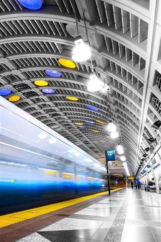 iPhone Wallpaper Seattle, subway, lights, USA