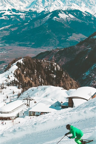 iPhone Wallpaper Ski, snowy, mountains, winter