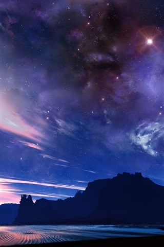 iPhone Wallpaper Starry, sea, mountains, clouds, dusk, beautiful landscape