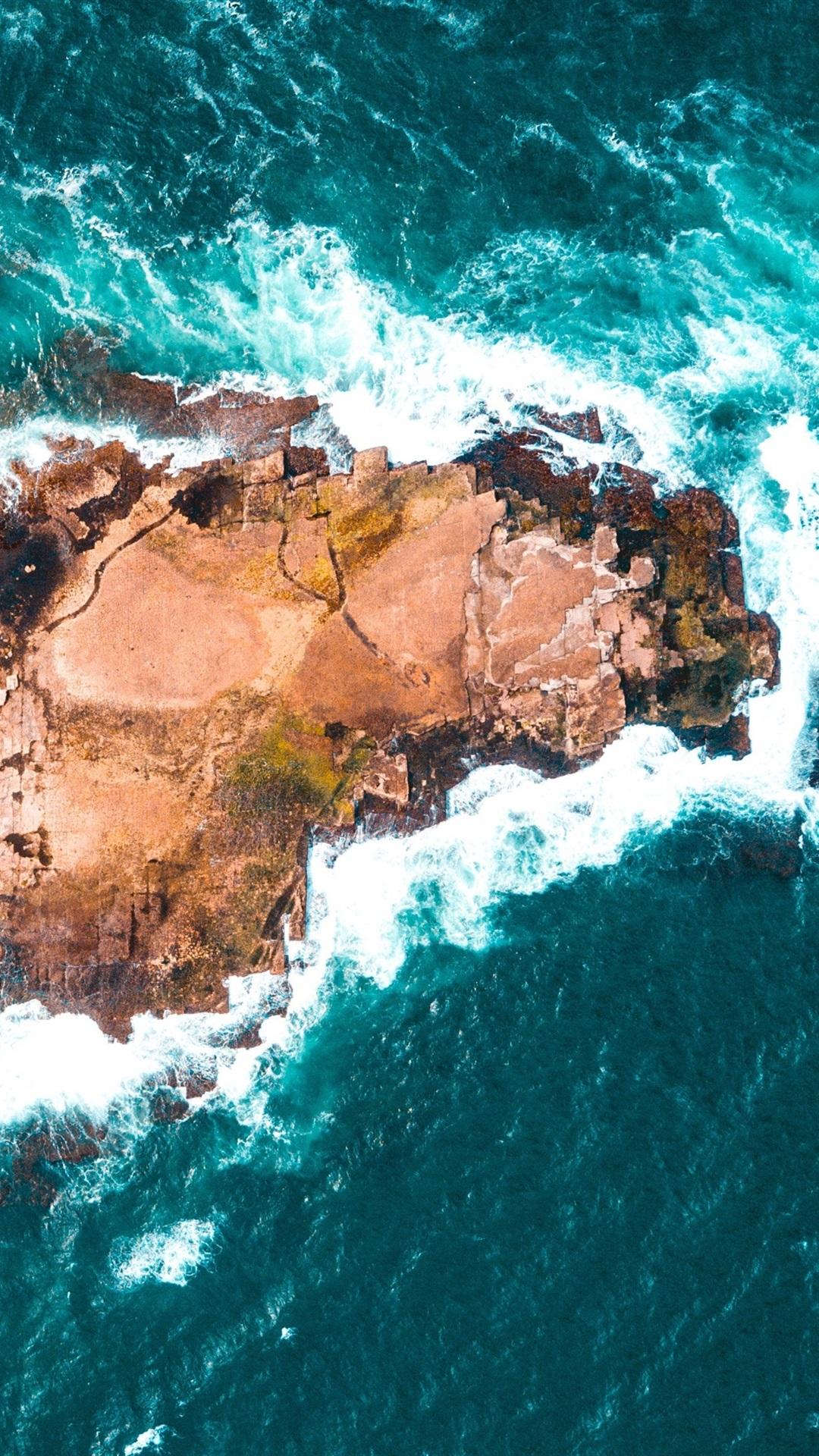 Stone Island Top View Sea Waves 1080x1920 Iphone 8766s