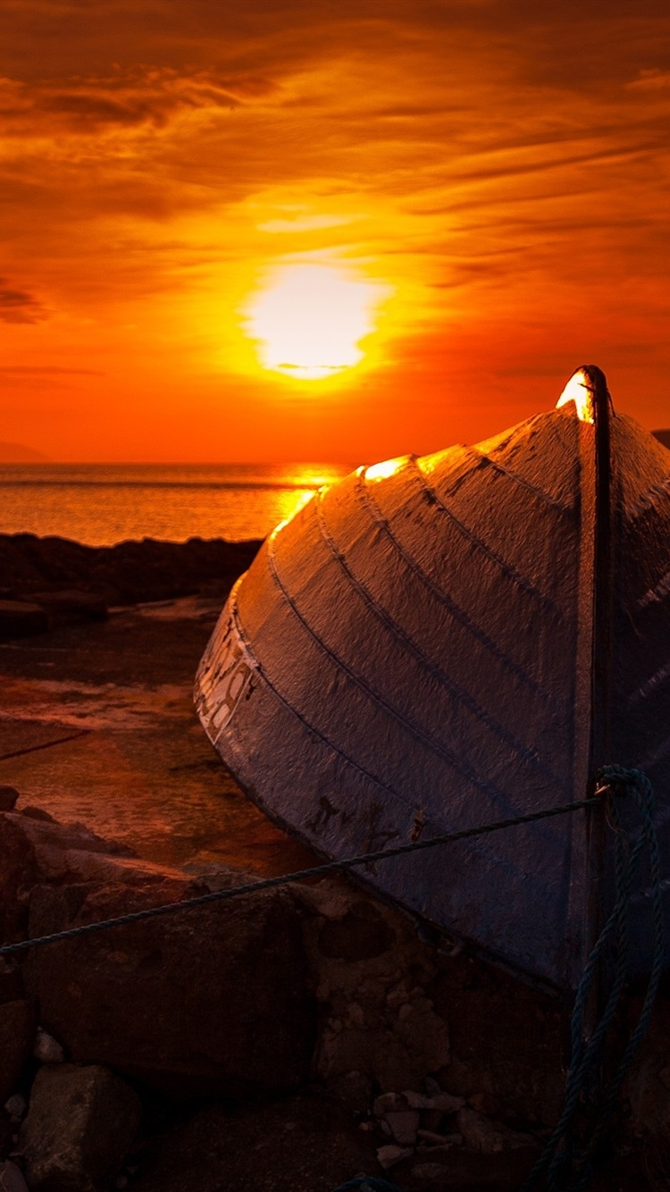 Wallpaper Sunset Boat Sea Coast 2560x1600 Hd Picture Image