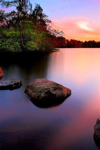 iPhone Wallpaper Sunset, stones, trees, lake