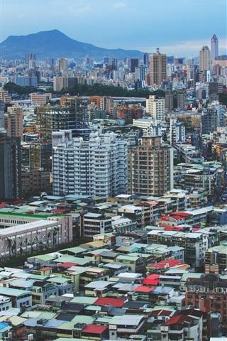 iPhone Wallpaper Taiwan, city, buildings, dusk