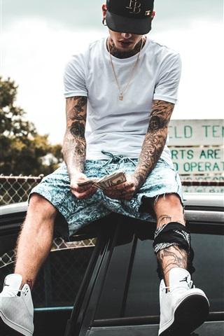 iPhone Wallpaper Tattoos guy sit on car top