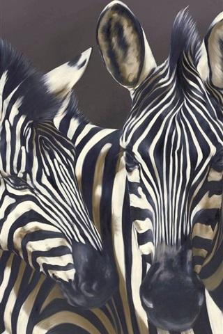 iPhone Wallpaper Three zebras, black background