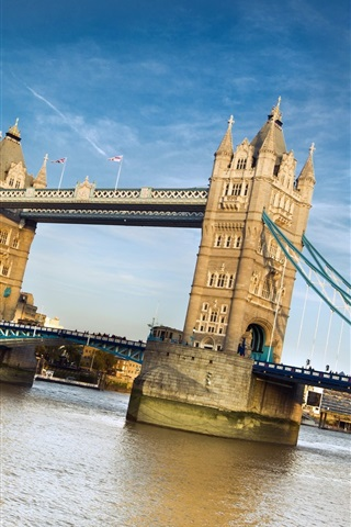iPhone Wallpaper Tower Bridge, London, England, river, blue sky