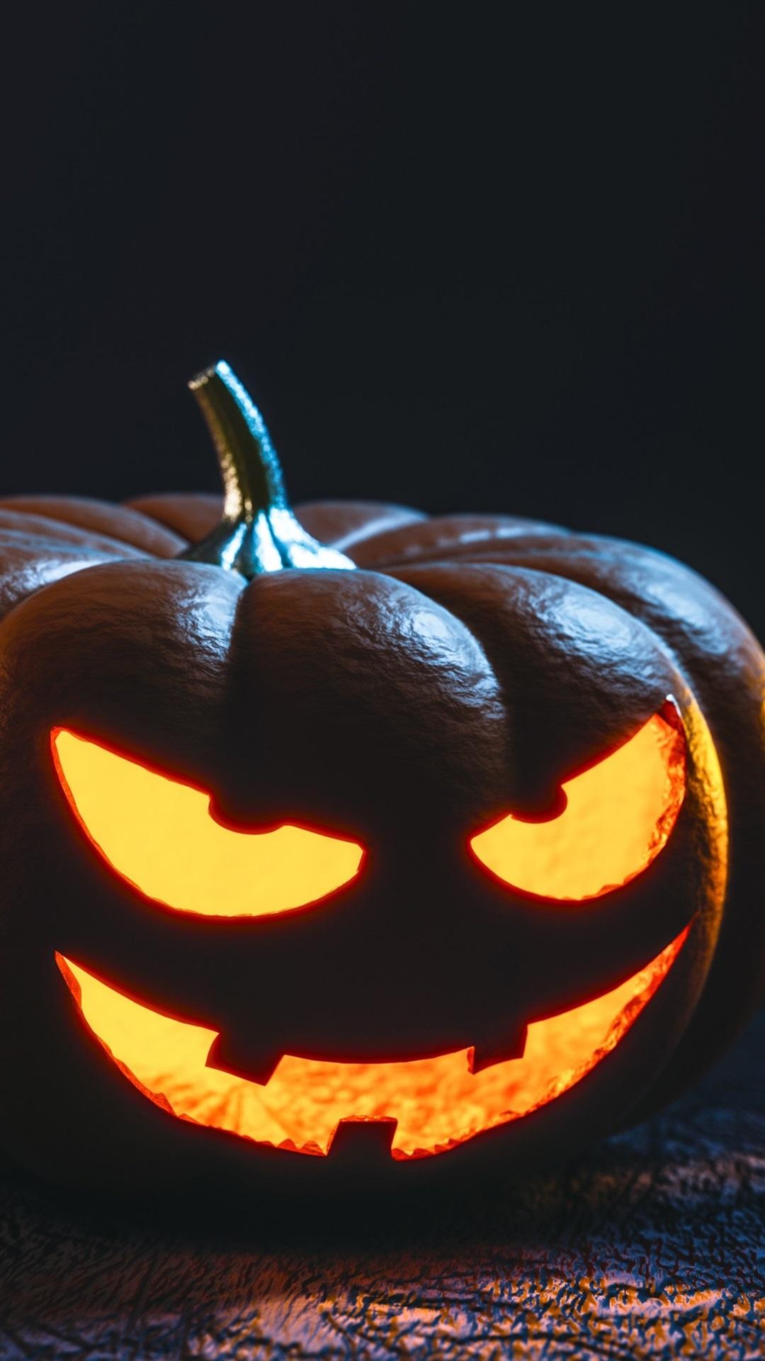 Two Pumpkin Lamps Halloween Dark 1080x1920 Iphone 8 7 6 6s Plus