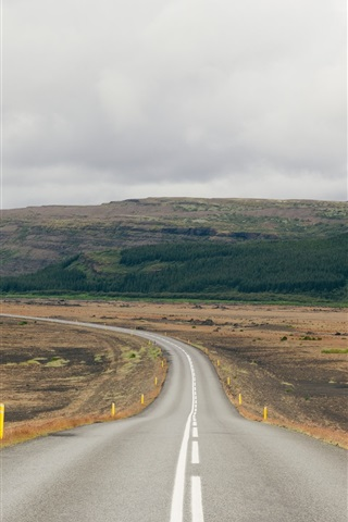 iPhone Wallpaper Uplands, road, cloudy sky